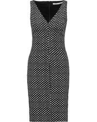 Diane von Furstenberg | Black Minetta Twill-paneled Stretch Cotton-poplin Dress | Lyst