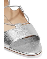 Loeffler Randall - Dani Lace-up Metallic Leather Sandals - Lyst