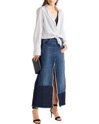 TOME - Blue Patchwork Distressed Denim Maxi Skirt - Lyst