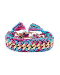 Aurelie Bidermann | Pink Do Brasil Gold-plated Braided Cotton Bracelet | Lyst