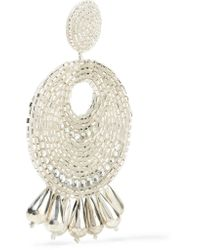 Kenneth Jay Lane - Metallic Silver-tone, Crystal And Bead Clip Earrrings - Lyst