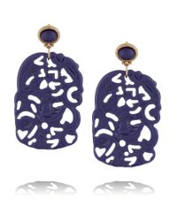 Kenneth Jay Lane | Blue Gold-toned Resin Earrings | Lyst