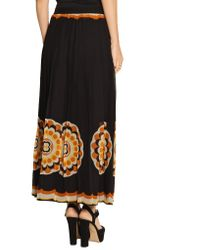 Anna Sui - Black Printed Silk-chiffon Maxi Skirt - Lyst