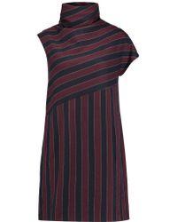 Carven - Blue Striped Woven Mini Dress - Lyst