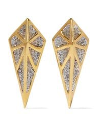 Noir Jewelry | Metallic Hidden Gold-tone Crystal Earrings | Lyst