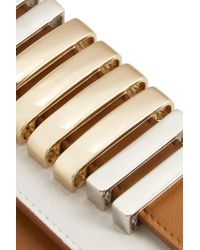 Balmain - White Two-tone Embellished Leather Wallet - Lyst