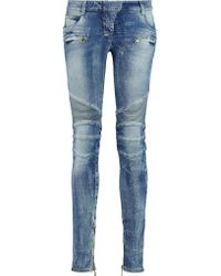 Balmain - Blue Biker Jeans - Lyst