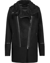 Mackage | Black Suede And Leather-trimmed Wool-blend And Quilted Shell Down Coat | Lyst