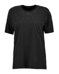 Markus Lupfer | Black Alex Crystal-embellished Cotton-blend Jersey T-shirt | Lyst