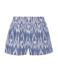 Alice + Olivia - Blue Woven Cotton Shorts - Lyst