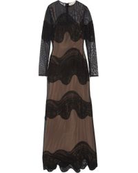 Emilio Pucci   Black Embroidered Tulle Gown   Lyst