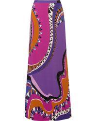 Emilio Pucci   Purple Printed Crepe De Chine Maxi Skirt   Lyst