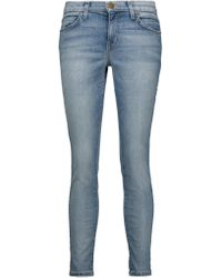 Current/Elliott | Blue The Stiletto Low-rise Distressed Skinny Jeans | Lyst