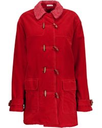 Tomas Maier | Red Faux Shearling-lined Cotton-corduroy Coat | Lyst
