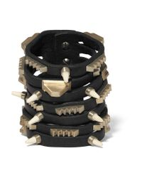 Rick Owens | Black Leather, Bronze And Bone Bracelet | Lyst