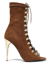 Balmain | Brown Lace-up Suede Boots | Lyst