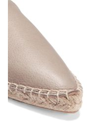 Iris & Ink - Gray Leather Espadrille Slippers - Lyst