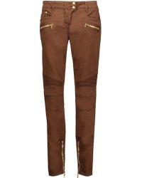 Balmain | Brown Mid-rise Paneled Skinny Jeans | Lyst