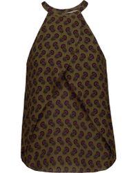 A.L.C. | Brown Iggy Printed Silk-chiffon Top | Lyst
