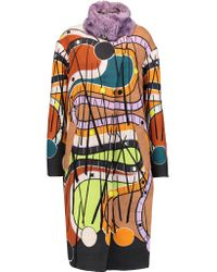 Peter Pilotto | Blue Pin Mohair And Cotton-blend And Printed Wool Coat | Lyst
