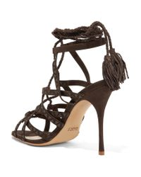 Schutz - Brown Lydia Leather-trimmed Suede Sandals - Lyst