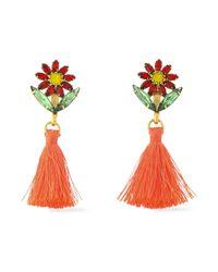 Elizabeth Cole - Multicolor Gold-tone Crystal Tasseled Earrings - Lyst