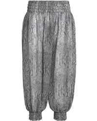 Norma Kamali - Gray Smocked Snake-print Chiffon Tapered Pants - Lyst
