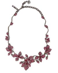Oscar de la Renta | Red Gunmetal-tone Crystal Necklace | Lyst