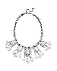 Kenneth Jay Lane | Metallic Gunmetal-tone Crystal And Faux Pearl Necklace | Lyst