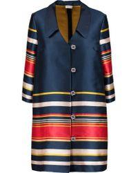 SUNO - Blue Striped Satin-twill Coat - Lyst