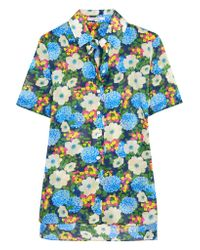 Carven | Blue Floral-print Cotton-voile Shirt | Lyst