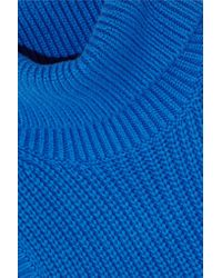 MICHAEL Michael Kors - Blue Ribbed Cotton-blend Turtleneck Top - Lyst
