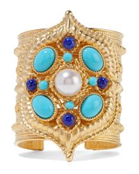 Ben-Amun - Metallic Gold-plated, Enamel And Faux Pearl Cuff - Lyst