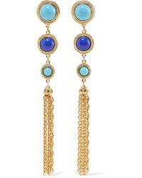 Ben-Amun - Blue Gold-tone Stone Clip Earrings - Lyst