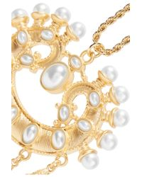 Kenneth Jay Lane | Metallic Gold-tone Faux Pearl Necklace | Lyst