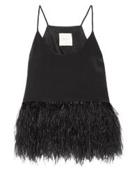 Michelle Mason | Black Feather-embellished Silk Crepe De Chine Top | Lyst