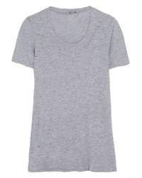 Monrow   Gray Distressed Jersey T-shirt   Lyst