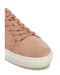 Claudie Pierlot - Pink Floral-print Leather-trimmed Suede Sneakers - Lyst