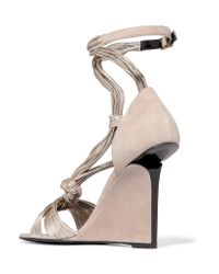 Pierre Hardy | Natural Leather And Suede Wedge Sandals | Lyst