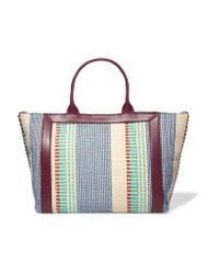Sandro   Blue Raffia And Leather Tote   Lyst