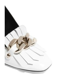 Casadei - White Embellished Fringed Patent-leather Pumps - Lyst