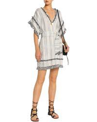 Zimmermann - Gray Tasseled Striped Linen And Cotton-blend Mini Dress - Lyst