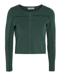 Sandro   Green Gayle Embroidered Stretch-knit Cardigan   Lyst