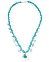 Chan Luu | Blue Beaded Stone And Silver-tone Necklace | Lyst