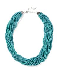Kenneth Jay Lane | Blue Silver-tone Beaded Necklace | Lyst