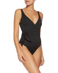 Iris & Ink - Black Wrap-effect Knotted Swimsuit - Lyst