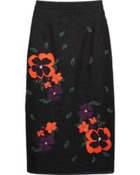 Raoul - Black Embroidered Mesh And Cotton-blend Jersey Skirt - Lyst