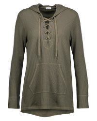 Splendid - Green Weekend Lace-up Waffle-knit Hooded Sweatshirt - Lyst