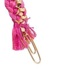 Aurelie Bidermann - Pink Do Brasil 18-karat Gold And Braided Cotton Bracelet - Lyst