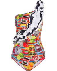 Stella Jean - Blue Ruffle-trimmed Printed Swimsuit - Lyst